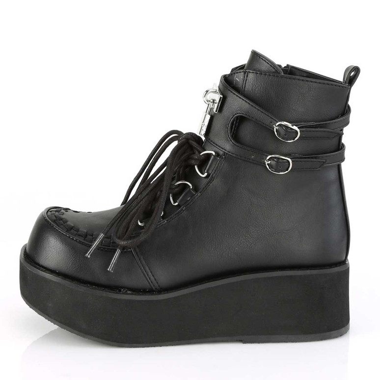 Sprite-70, Platform D-Ring Lace up Ankle Boots | Demonia Side View