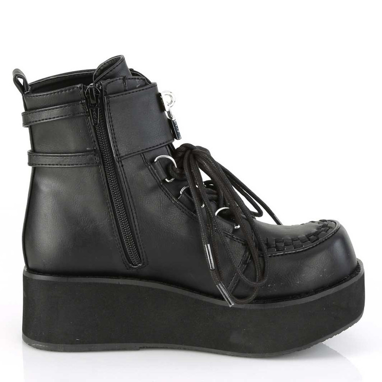 Demonia | Sprite-70, Platform D-Ring Lace up Ankle Boots Side Zipper view