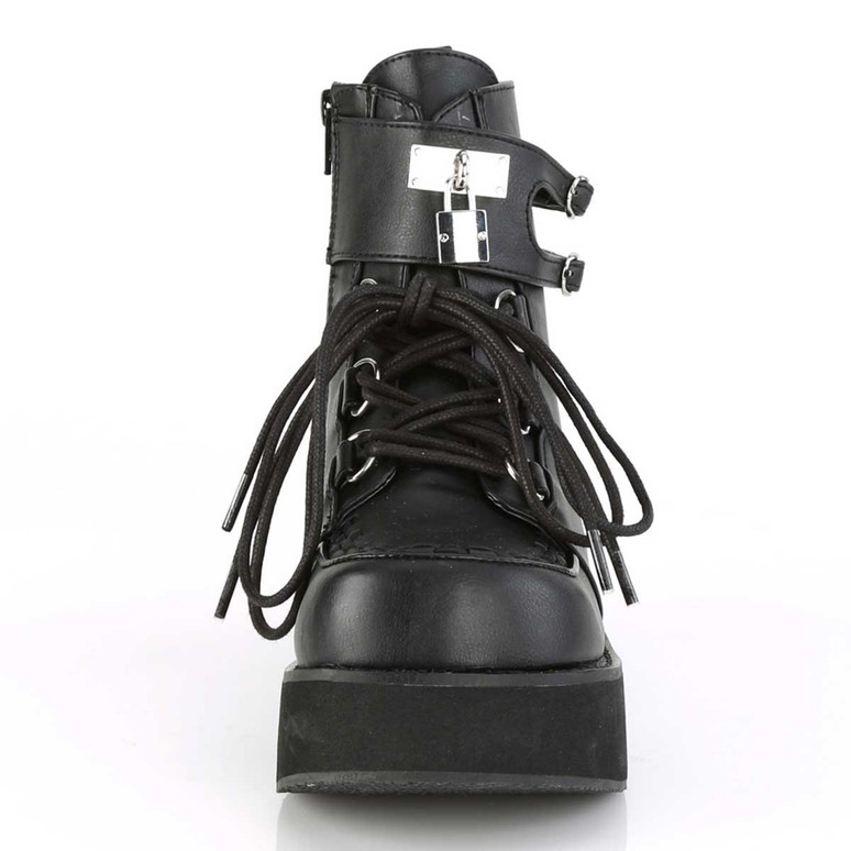 Sprite-70, Front View Platform D-Ring Lace up Ankle Boots | Demonia