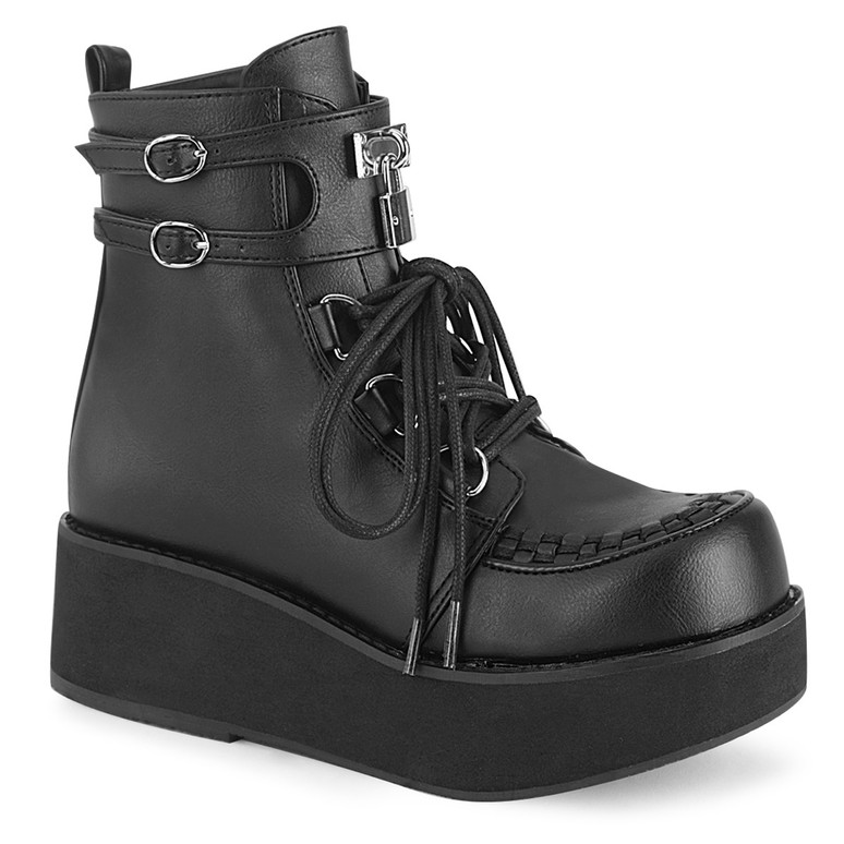 Sprite-70, Black Vegan Leather Platform D-Ring Lace up Ankle Women Demonia Boots