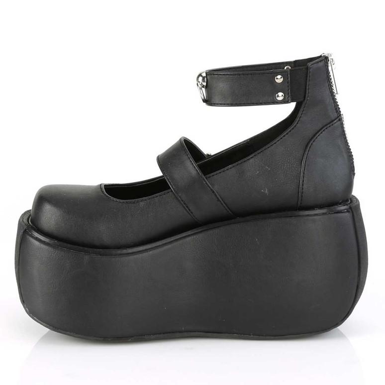 Demonia | Violet-32, Side View Platform Maryjane Sandal with Ankle Band