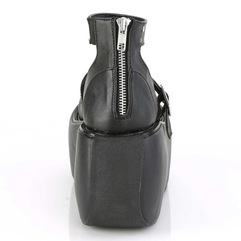 Demonia | Violet-32, Platform Maryjane Sandal with Ankle Band Back Zipper View