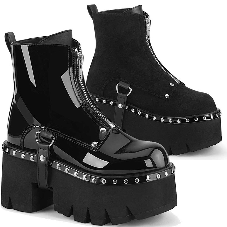 Demonia | Ashes-100, Chunky Heel Platform Ankle Boots