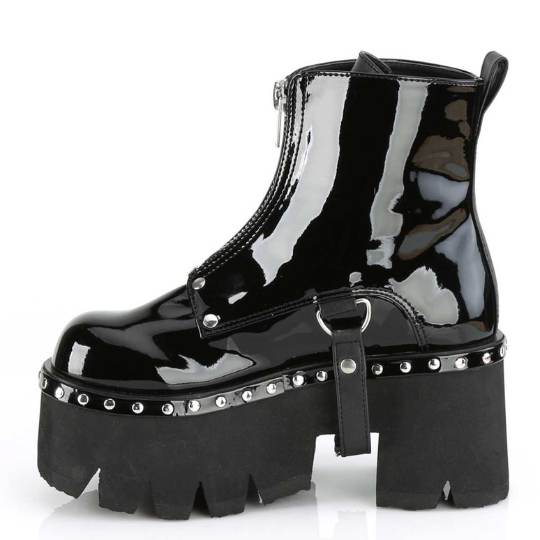 Ashes-100, Gothic Chunky Heel Platform Ankle Women Demonia Boots Inner Side View