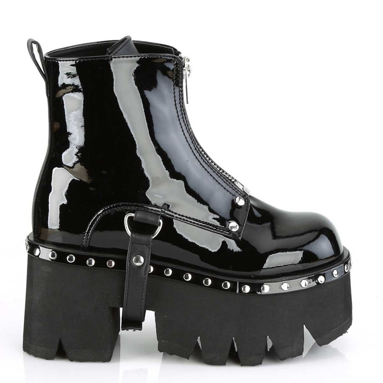 Ashes-100, Side View Chunky Heel Platform Ankle Women Demonia Boots
