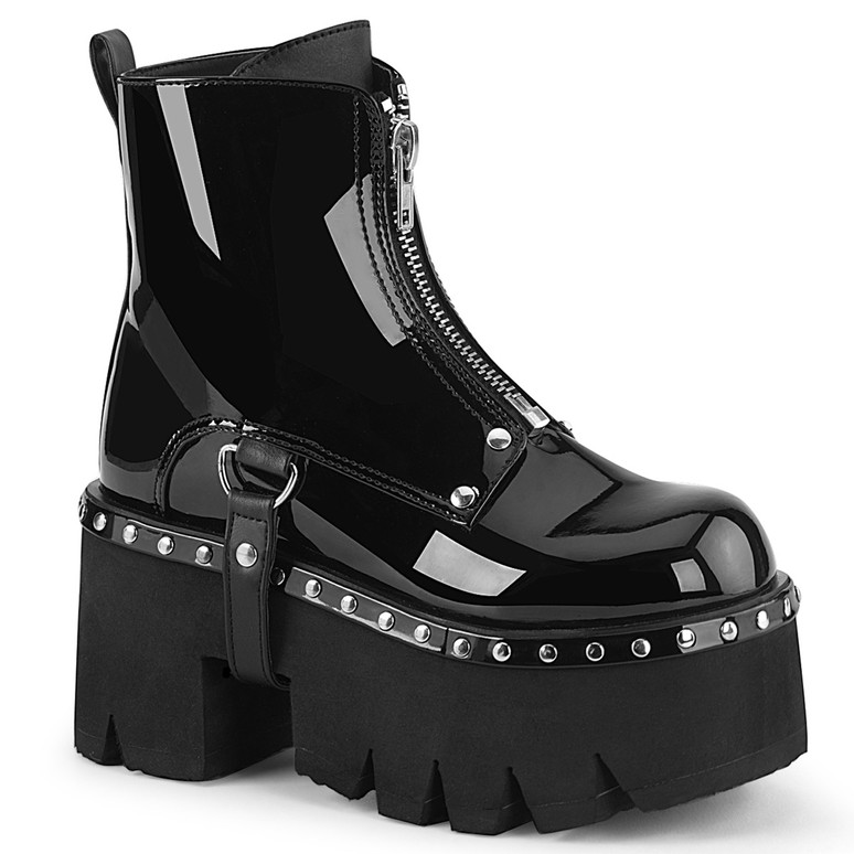 Ashes-100, Shinny Black Chunky Heel Platform Ankle Women Demonia Boots