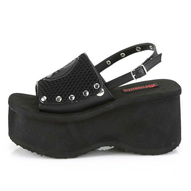 Funn-32, Side View Platform Sandal with Slingback   Demonia