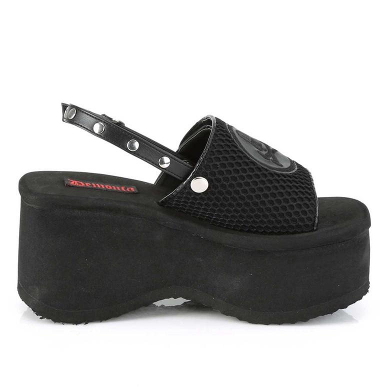 Funn-32, Black Vegan Leather Platform Sandal with Slingback   Demonia Women Shoes Side View