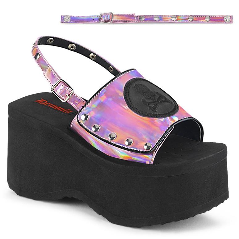 Demonia Women   Funn-32, Pink Platform Sandal with Slingback