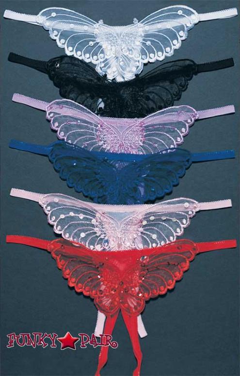 Leg Avenue 2600, Butterfly Crotchless Panty One Size