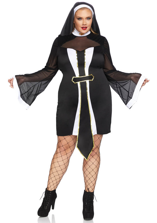 LA-86736X, Twisted Sister Nun Costume Full View by Leg Avenue