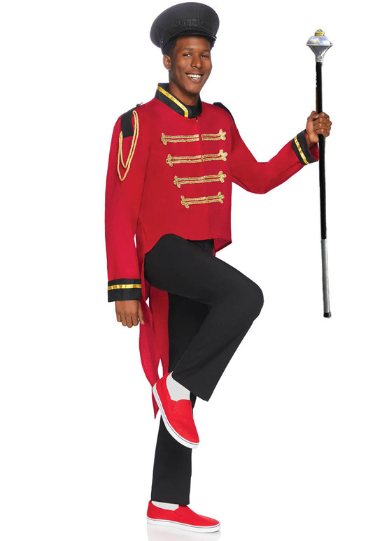 LA-86847, Men's Red Military jacket with Tail by Leg Avenue Full View