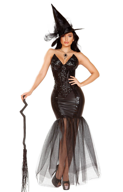 Fancy Glitter Witch Spell Costume Roma   R-4910, Full View