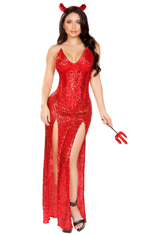 Sexy Devil Glitter Dress Costume by Roma R-4911, Full View
