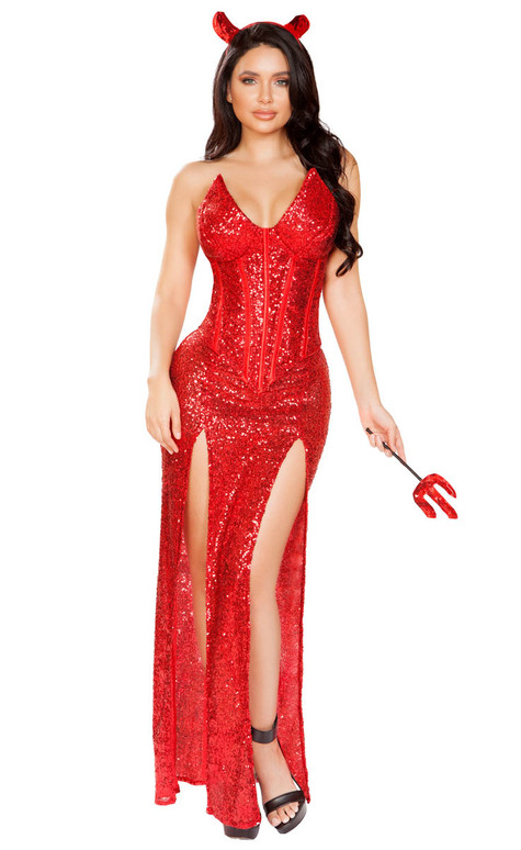 Sexy Devil Glitter Dress Costume by Roma R-4911, Full View