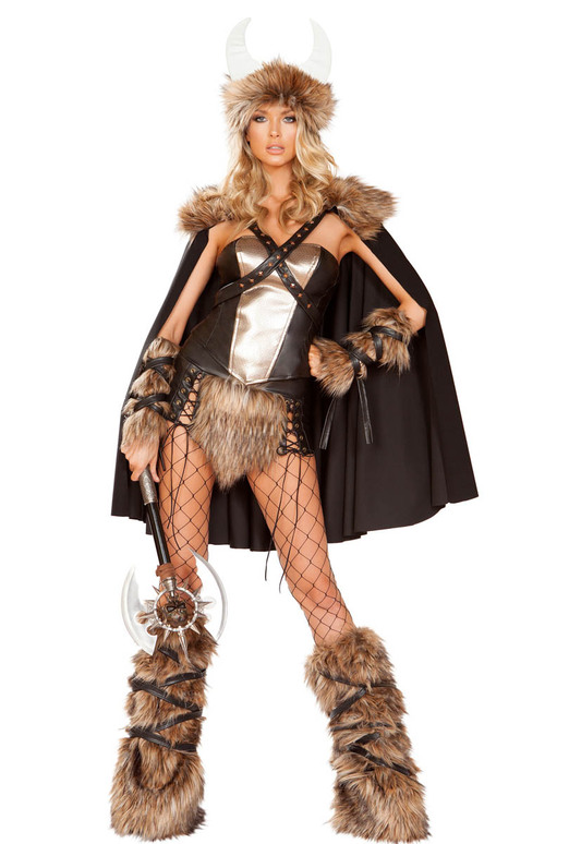 Women's Viking Warrior Costume Roma | R-4892, Front Full View