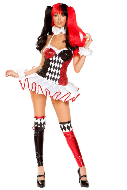 R-4903, Women's 3pc Joke Lover Costume by Roma Front Full View
