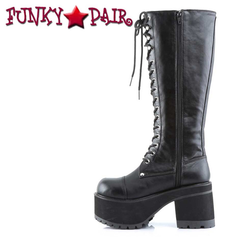 Ranger-302, Goth Punk Platform Boots Demonia zipper side view