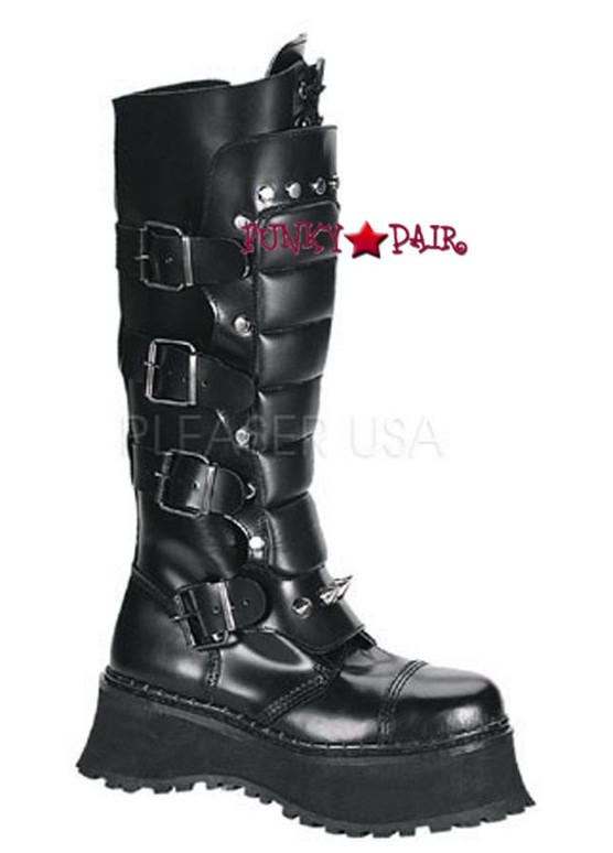 Demonia RAVAGE-II, Goth Boots with Spikes and Zipper