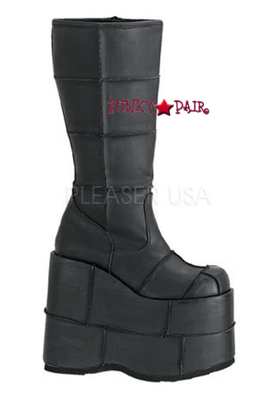 Go Go Platform Patch Knee High Gothic  Boots STACK-301PU,