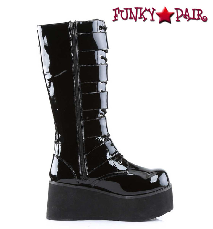 Demonia TRASHVILLE-518 Platform Goth Punk Knee Boot with 5 Buckles zipper side view