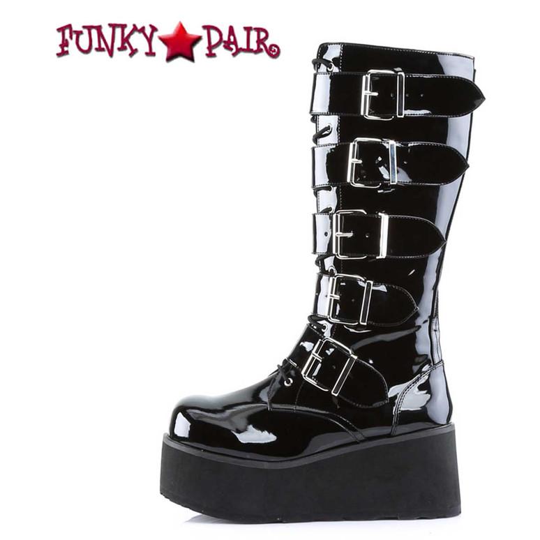TRASHVILLE-518 Platform Goth Punk Knee Boot with 5 Buckles Demonia side view