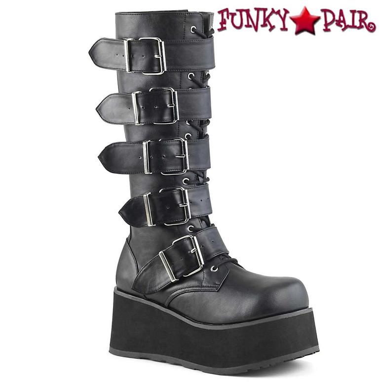 black vegan leather TRASHVILLE-518 Platform Goth Punk Knee Boot with 5 Buckles