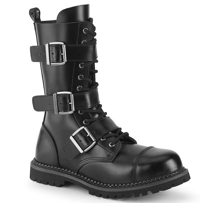 Demonia | RIOT-12, Men's Black Leather Punk Strap Boots