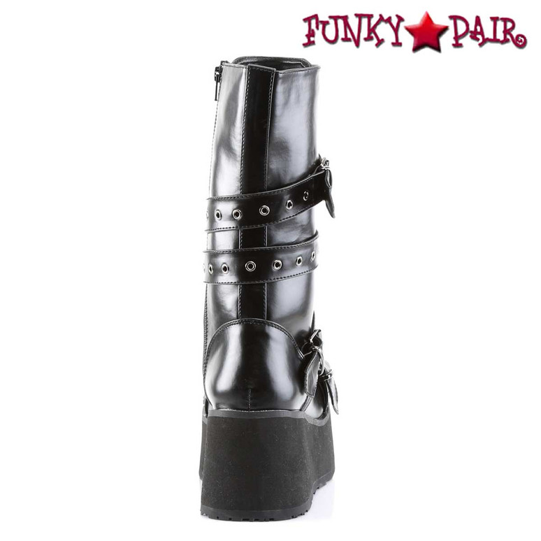 Platform Goth Punk Calf Boot with Wrap Around Strap, Full Inner Side Zipper back view