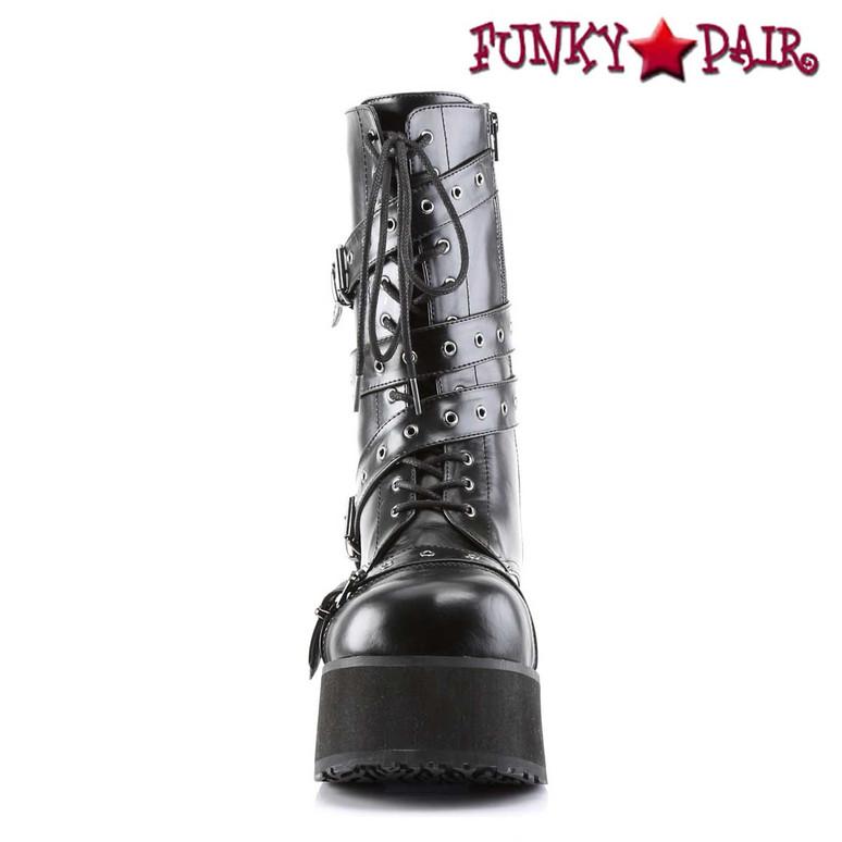 TRASHVILLE-205, Platform Goth Punk Calf Boot with Wrap Around Strap Demonia front view