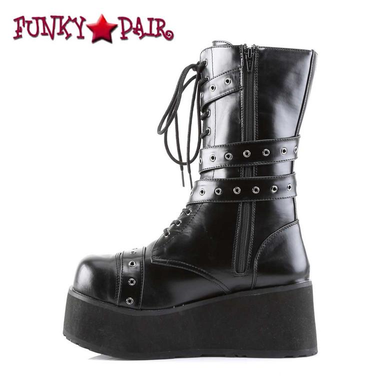 TRASHVILLE-205, Platform Goth Punk Calf Boot Side zipper view