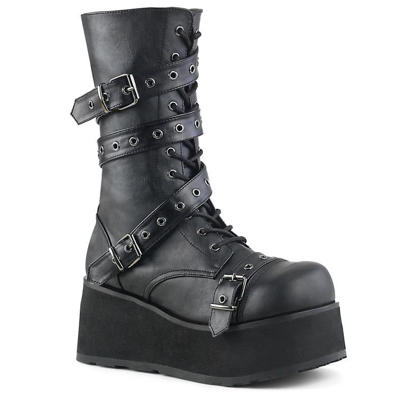 TRASHVILLE-205, Platform Goth Punk Calf Boot with Wrap Around Strap Demonia