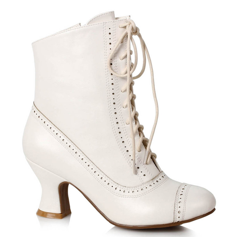 White Victorian Booties by Ellie Shoes 1031 253-Sarah