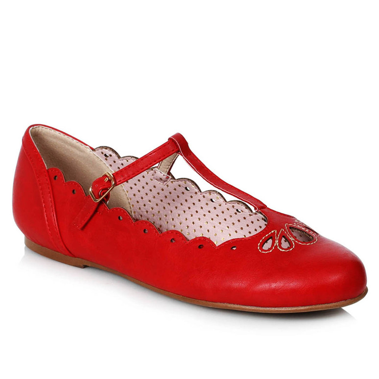 BP100-MAILA, Red Flat T-Strap Ballet by Bettie Page Shoes