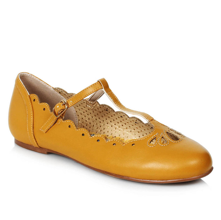 BP100-MAILA, Yellow Flat T-Strap Ballet by Bettie Page Shoes