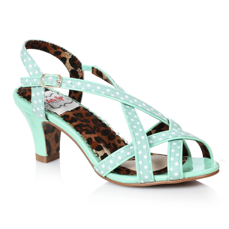 BP250-Gracie, Mint Peep Toe Sling Back Sandal by Bettie Page Shoes