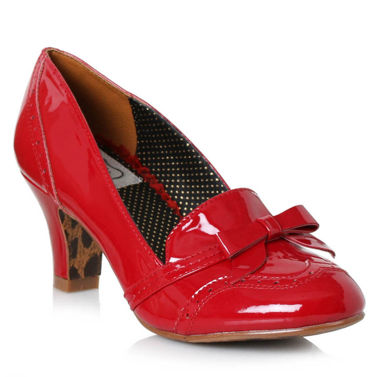 BP250-Sadey, Red Loafer with Bow by Bettie Page Shoes