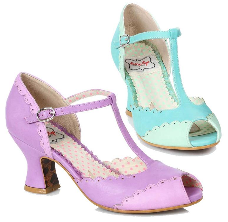 Bettie Page Shoes BP254-Carlie, Peep Toe T-strap Sandal
