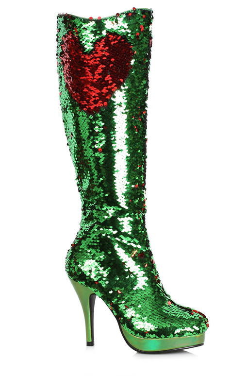 """421-Gillian, 4"""" Flip Green Sequin Boots by Ellie Shoes"""