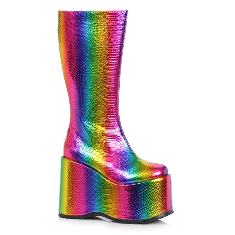 500-AMARA, Multi Color Wedge Platform GoGo Boots By Ellie Shoes