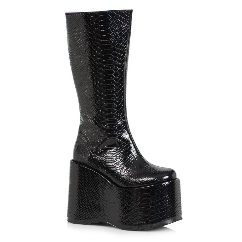500-AMARA, Black Wedge Platform GoGo Boots By Ellie Shoes