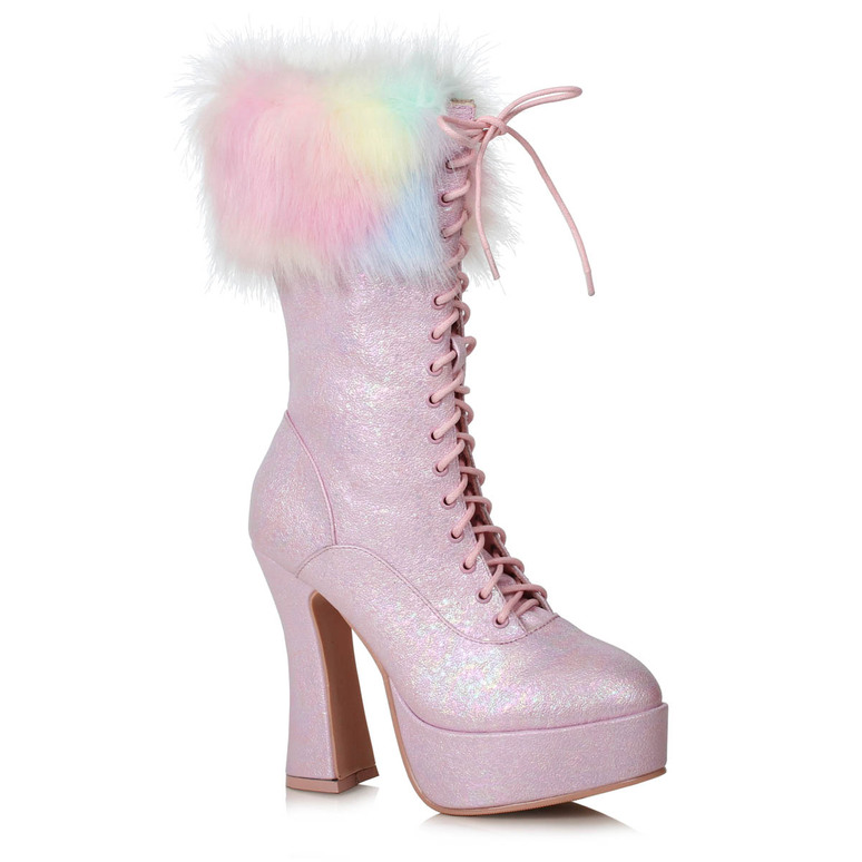 557-Nora, Pink Ankle Boots with Faux Fur by Ellie Shoes
