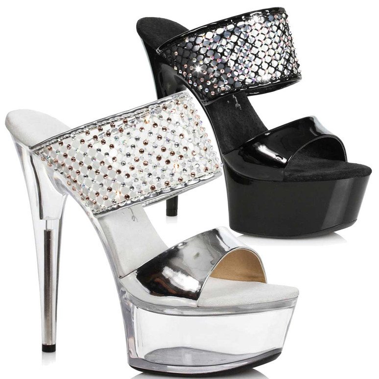 Ellie Shoes | 609-Aileen, Rhinestones Double Strap Sandal