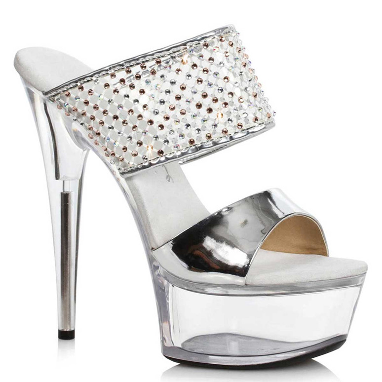 609-Aileen, Rhinestones Silver Double Strap Sandal by Ellie Shoes