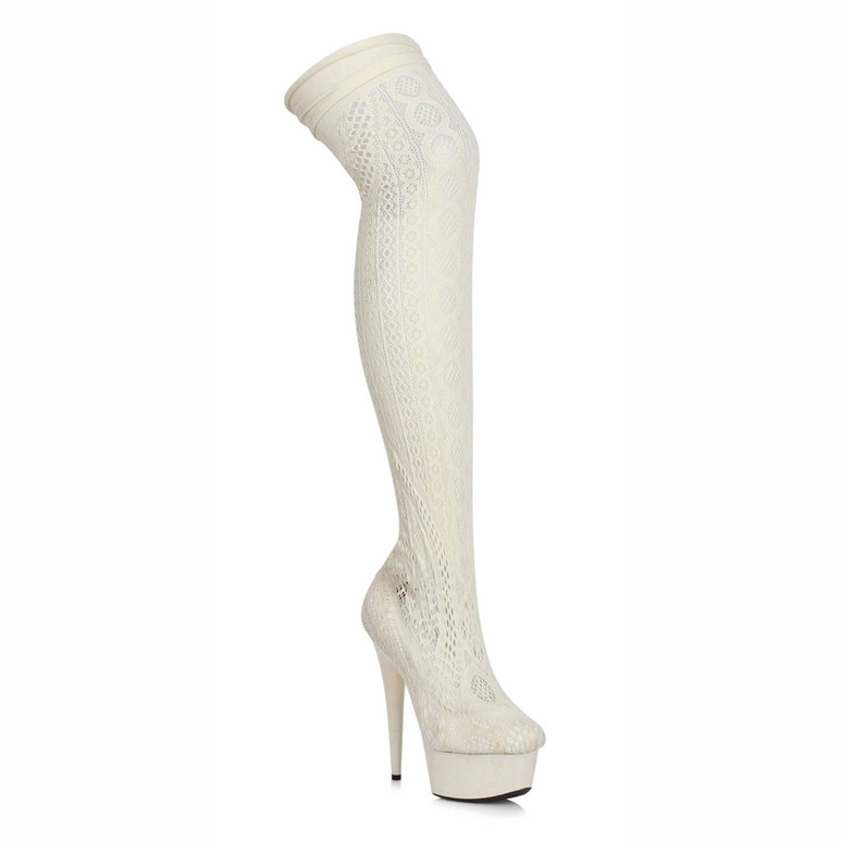 White Faux Stocking Thigh High Boots by Ellie Shoes 609-Mei