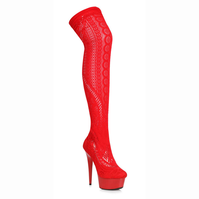 609-Mei, Red Faux Stocking Thigh High Boots by Ellie Shoes