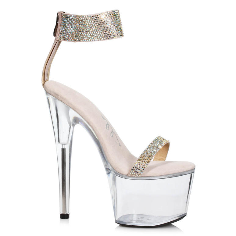 709-Anika, Gold Rhinestone Cuff Platform Sandal by Ellie Shoes