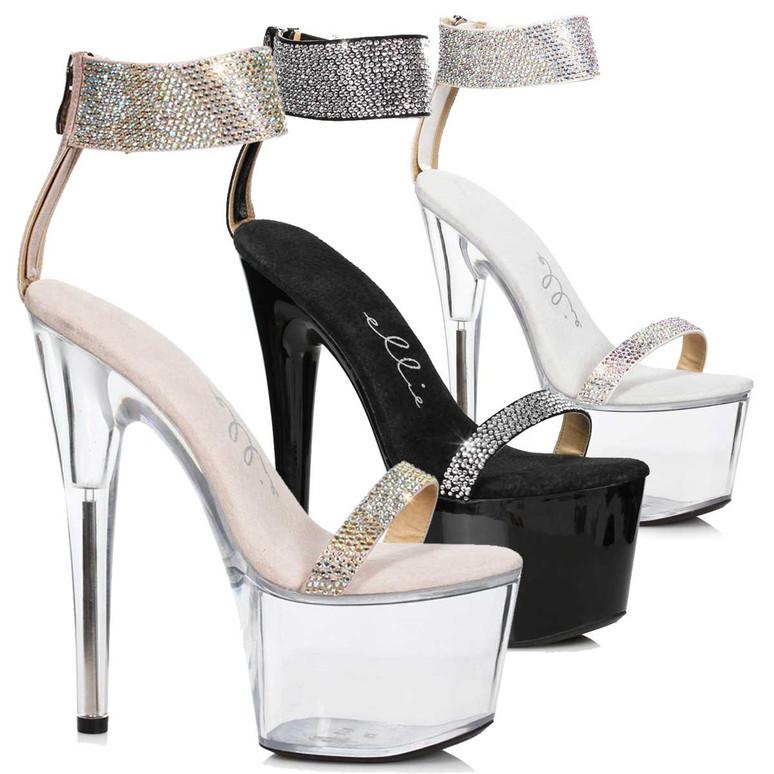 Ellie Shoes | 709-Anika, Rhinestone Cuff Platform Sandal