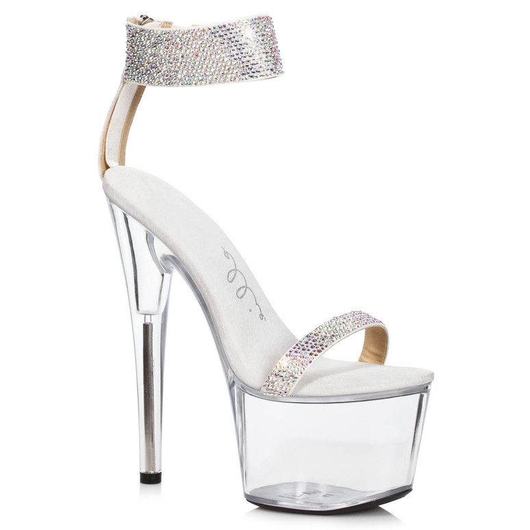 709-Anika, Silver Rhinestone Cuff Platform Sandal by Ellie Shoes