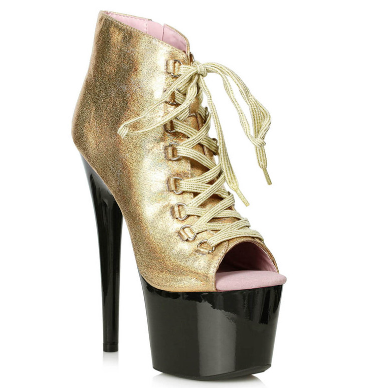 709-Zaylee, 7 Inch Peeptoe Gold Shimmer Dancer Boots by Ellie shoes